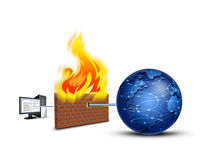 Firewall. Protected pc by firewall, security concept Royalty Free Stock Photo