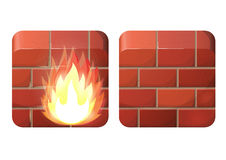 Firewall. Brick wall. Firewall. iOS style design Stock Image
