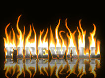 Firewall. Text on Fire with Reflection Stock Photo