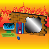 Firewall. Abstract colorful illustration with brick wall in front of fire flames, shield shape and a colorful computer. Firewall concept Royalty Free Stock Photos