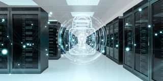 Firewall activated on server room data center 3D rendering. White and blue firewall activated on server room data center 3D rendering Stock Photo