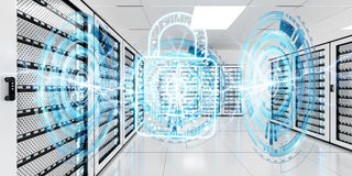 Firewall activated on server room data center 3D rendering. White and blue firewall activated on server room data center 3D rendering Stock Images
