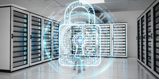 Firewall activated on server room data center 3D rendering. White and blue firewall activated on server room data center 3D rendering Royalty Free Stock Photo