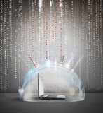 Firewall and antivirus concept. With a laptop inside a crystal sphere Stock Photo