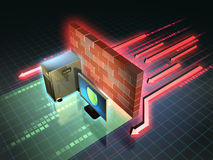 Firewall attack. Firewall creates a safe zone for a workstation. 3D illustration Royalty Free Stock Image