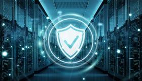 Firewall bij de gegevenscentrum van de serverruimte het 3D teruggeven wordt geactiveerd die Stock Foto