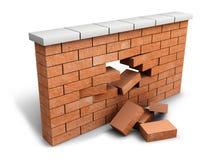 Firewall breach concept. Illustration of broken wall (3d illustration Stock Photo