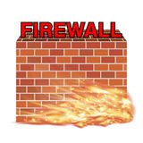 Firewall with brick wall  and real fire. A firewall with brick wall  and real fire Stock Photo