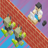 A firewall, between computer viruses and a worker. In isometric old video game style. The grunge texture is removable from the background Royalty Free Stock Photo