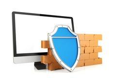 Firewall con il monitor del computer Fotografia Stock