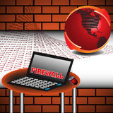 Firewall concept. Abstract colorful illustration with brick wall, red globe, table and a laptop on which is written the text firewall with red capital letters Stock Image