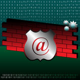 Firewall concept. Colorful illustration with binary numbers, red brick wall, colorful gears and a shield. Abstract firewall design Stock Photography