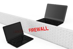 Firewall Concept. Firewall Brick Wall between two Security Lapto. Ps on a white background. 3d Rendering Stock Photos