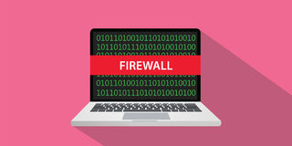 Firewall concept illustration with laptop comuputer and text banner on screen with flat style and long shadow. Vector Royalty Free Stock Photography