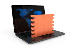 Firewall concept. Laptop with brick wall. On a white background Stock Images