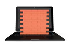 Firewall concept. Laptop with brick wall. On a white background Stock Image