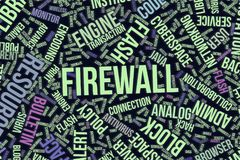 Firewall, conceptual word cloud for business, information technology or IT. Firewall, IT, information technology conceptual word cloud for for design wallpaper Royalty Free Stock Image