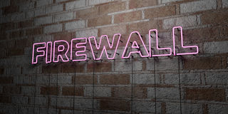 FIREWALL - Glowing Neon Sign on stonework wall - 3D rendered royalty free stock illustration. Can be used for online banner ads and direct mailers Stock Photos
