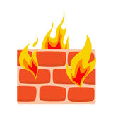 Firewall icon flat Wall in fire icon vector illustration. Firewall icon flat. Wall in fire icon vector illustration. Network protection symbol Stock Photos