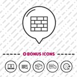 Firewall icon. Online Security symbol. Eps10 Vector wall sign. Speech bubble icon. Transport and Laptop icon Stock Photos