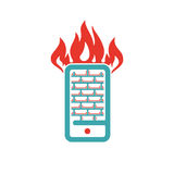 Firewall icon on smartphone screen vector illustration. Mobile phone button on white background. Security flat phone firewall. Fire around smartphone Royalty Free Stock Photography