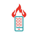 Firewall icon on smartphone screen vector illustration. Mobile phone button on white background. Security flat phone firewall. Fire around smartphone Stock Images