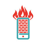 Firewall icon on smartphone screen vector illustration. Mobile phone button on white background. Security flat phone firewall. Fire around smartphone Stock Image