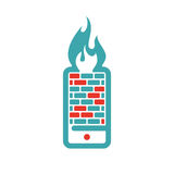 Firewall icon on smartphone screen vector illustration. Mobile phone button on white background. Security flat phone firewall. Fire around smartphone Stock Photos