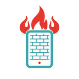 Firewall icon on tablet pc laptop vector illustration. Pad button on white background. Security flat tablet firewall. Fire around tablet pc laptop Royalty Free Stock Images