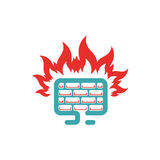 Firewall icon vector illustration. Internet button on white background. Security flat firewall. Fire around pc laptop Stock Photo