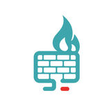 Firewall icon vector illustration. Internet button on white background. Security flat firewall. Fire around pc laptop Royalty Free Stock Photos