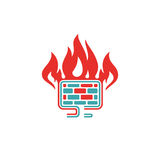 Firewall icon vector illustration. Internet button on white background. Security flat firewall. Fire around pc laptop Royalty Free Stock Image