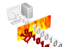 Firewall Illustration. Illustration of a firewall with good and bad data Royalty Free Stock Image