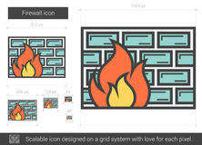 Firewall line icon. Firewall vector line icon isolated on white background. Firewall line icon for infographic, website or app. Scalable icon designed on a grid Royalty Free Stock Images