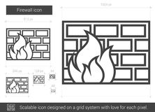 Firewall line icon. Firewall vector line icon  on white background. Firewall line icon for infographic, website or app. Scalable icon designed on a grid system Royalty Free Stock Images