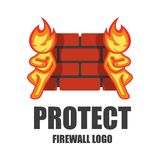 Firewall logo. Protection logo. Cyber security emblem. Network protection. Internet project. Logo icon design Stock Photos