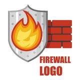 Firewall logo. Protection logo.Cyber security emblem. Firewall logo. Protection logo. Cyber security emblem. Network protection. Internet project. Logo icon Stock Photo