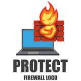 Firewall logo. Protection logo.Cyber security emblem. Network protection. Internet project. Logo icon design Stock Photos