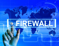 Firewall Map Displays Internet Safety Security and Protection Stock Photos