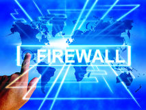 Firewall Map Displays Online Safety Security and Protection Royalty Free Stock Photos