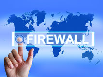 Firewall Map Refers to Internet Safety Security Stock Photos