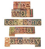 Firewall - network security concept. Firewall, backbone, portal and gateway - computer and internet security concept - a collage of isolated text in vintage wood Royalty Free Stock Images