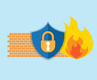 Firewall network security icon. Vector illustration Stock Image