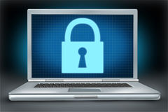 Firewall Network Securitylaptop technology symbol. Security and firewall protection symbol represented by a laptop computer Stock Photo