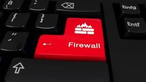 78 Firewall om Motie op de Knoop van het Computertoetsenbord stock video