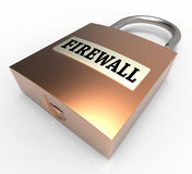 Firewall Padlock Means Safe Unlocked And Unsafe 3d Rendering. Firewall Padlock Indicating Protect Unlocked And Protected 3d Rendering Royalty Free Stock Photos