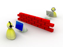 Firewall protected. Illustration of a firewall protection on white background Stock Photo