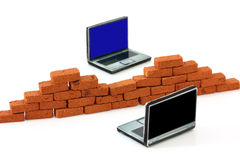 Firewall protection for computers. Firewall concept protecting two computers royalty free stock images