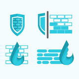 Firewall and protection symbols Royalty Free Stock Photo