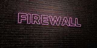 FIREWALL -Realistic Neon Sign on Brick Wall background - 3D rendered royalty free stock image. Can be used for online banner ads and direct mailers Stock Photography